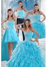2015 Beautiful Appliques Sweet Sixteen Dresses with Beading and Ruffles