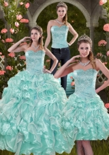 2015 Sophisticated Aqual Blue Quinceanera Dresses with Beading and Ruffles