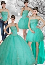 Appliques and Beading Strapless Sweet 15 Dress in Apple Green