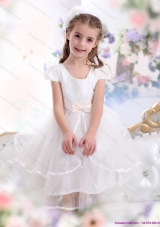 2015 Scoop White Little Girl Pageant Dresses with Bowknot and Ruffles