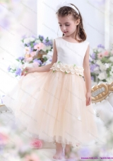 2015 White Little Girl Pageant Dress with Waistband and Hand Made Flowers