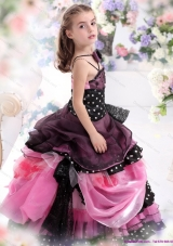 Multi Color Ruffled 2015 Little Girl Pageant Dress with Bowknot and Hand Made Flower