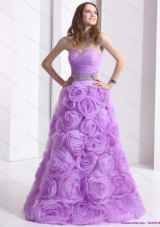 2015  Lilac Sweetheart Prom Dresses with Rolling Flowers and Sequins