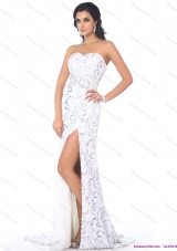 2015 Sexy Sweetheart Printed White Prom Dress with High Slit