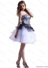2015 Zebra Printed Sweetheart White Prom Dresses with Ruffled Layers