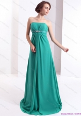 Affordable 2015 Strapless Brush Train Prom Dress with Beading and Ruching