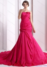 Elegant 2015 Prom Dress with Hand Made Flowers and Ruching