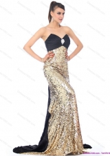Sexy Brush Train 2015 Prom Dress with Ruching and Sequins