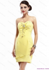 Short New Style Sweetheart Beading Yellow Prom Dress for 2015
