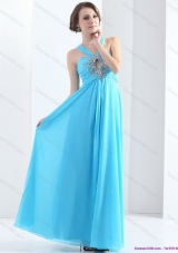 2015 Elegant Halter Top Floor Length Prom Dress with Ruching and Beading