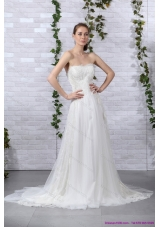 2015 Cheap Ruffled White Strapless Wedding Gowns with Brush Train