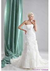 Cheap Pleated Sequined White Wedding Dresses with Chapel Train