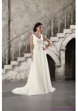 Cheap Ruching and Beading White Wedding Dresses with Brush Train