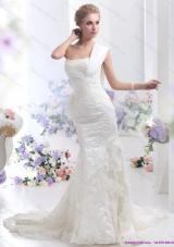 2015 Beautiful Strapless Lace White Wedding Mermaid Dress