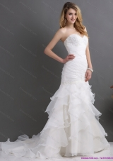 2015 Modest and Elegant Sweetheart Wedding Dress with Ruching and Ruffles
