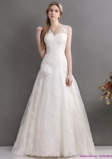 2015 Perfect A Line Wedding Dress with Lace and Hand Made Flowers
