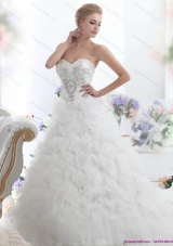 Top Selling Beading Sweetheart White Bridal Gown with Ruffles and Brush Train