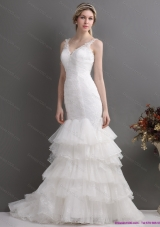 Top Selling Mermaid Wedding Dress with Lace and Ruffles for 2015