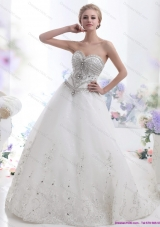 White Sweetheart Rhinestones Wedding Dresses with Brush Train
