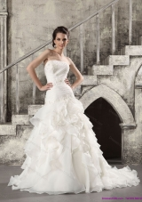 2015 Pretty White Strapless Bridal Gowns with  Brush Train and Ruffles