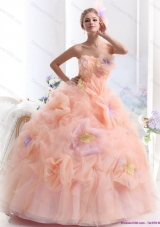 Multi Color 2015 Strapless Wedding Dresses with Hand Made Flower