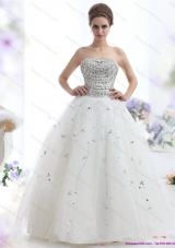 Perfect White Strapless 2015 Wedding Dresses with Rhinestones