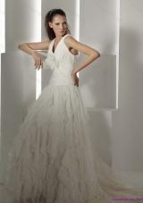 Ruffled 2015 Brush Train White Wedding Dresses with Hand Made Flower