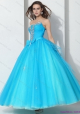 2015 Beading Baby Blue Quinceanera Dresses with Bownot
