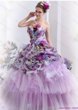 Luxurious 2015 Multi Color Sweet Sixteen Dresses with Hand Made Flowers and Ruffles