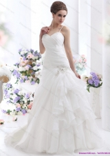 Elegant Ruched White Wedding Dresses with Brush Train and Appliques