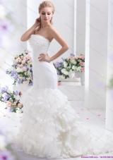 2015 Elegant Brand New Strapless Wedding Dress with Mermaid