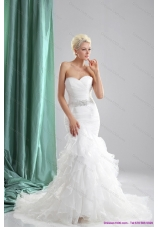 2015 Elegant Ruffles White Sweetheart Wedding Dresses with Sequins