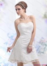 2015 Elegant Sweetheart Mini-length Wedding Dress with Lace