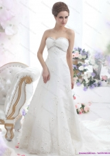 2015 Perfect Sweetheart Wedding Dress with Beadings