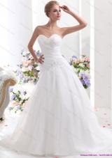 Elegant 2015 Sweetheart Wedding Dress with Ruching and Beading