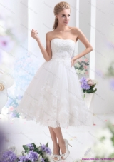 Elegant Discount White Strapless Ruffled Bridal Gowns with Sequins