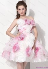 Elegant Multi Color Strapless Wedding Dresses with Hand Made Flower