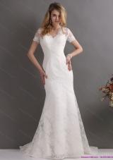 Elegant V Neck Lace Wedding Dress with Short Sleeves