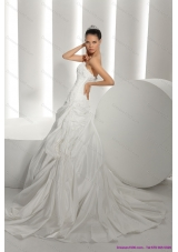 Elegant White Brush Train Strapless 2015 Bridal Dresses with Ruffles