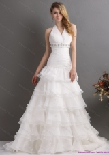 Elegant White Halter Top Beading Wedding Dresses with Ruffled Layers and Brush Train