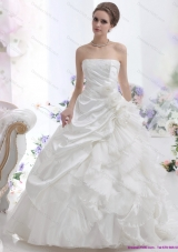 Elegant White Strapless Ruffles Bridal Gowns with Chapel Train and Hand Made Flower
