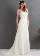 Elegant White Strapless Wedding Dresses with Brush Train and Sash