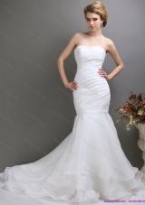 Sturning 2015 Strapless Mermaid Wedding Dress with Brush Train