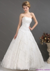 2015 A-Line Strapless Wedding Dress with Floor-length