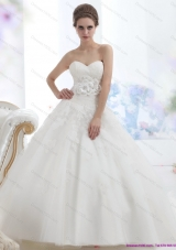 2015 A-Line Sweetheart Wedding Dress with Lace and Hand Made Flowers