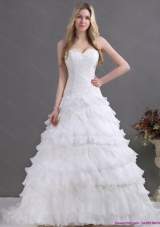 2015 A-Line Sweetheart Wedding Dress with Lace and Ruffles