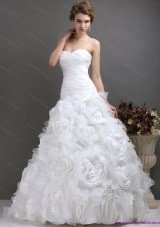 2015 A-Line Sweetheart Wedding Dresses with Ruching and Rolling Flowers