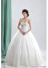 A-Line 2015 Sweetheart Wedding Dress with Beading and Lace