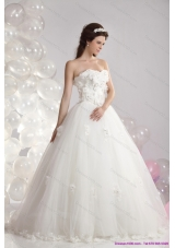 A-Line White Strapless Bridal Dresses with Beading and Hand Made Flowers