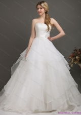 A-Line White Wedding Dresses with Brush Train and Sash